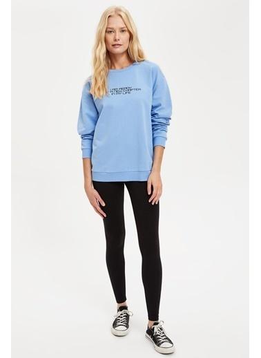 DeFacto Oversize Yazı Baskılı Sweatshirt Mavi